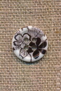 4-huls Knap med blomster i hvid og sort, 15 mm.