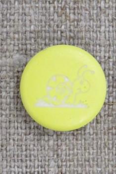 Knap i lys gul med snegl, 15 mm.