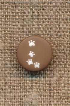 Knap med poter i brun, 12 mm.