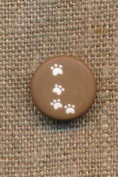 Knap med poter i brun, 15 mm.