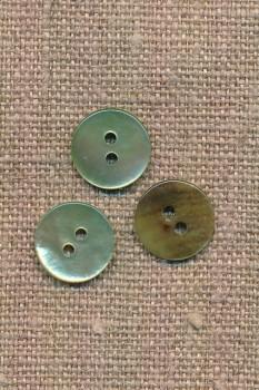 Perlemors-knap støvet lys grøn 13 mm.