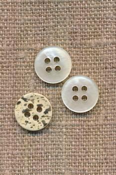 Lille offwhite 4-huls knap 12 mm. i perlemors-look