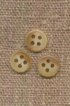 Lille 4-huls knap i offwhite og beige meleret 9 mm.