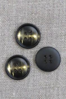 4-huls Knap i sort og gylden, 18 mm.