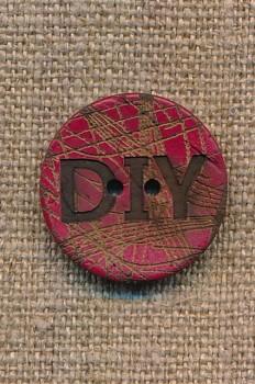 Kokos knap i rød DIY 23 mm.