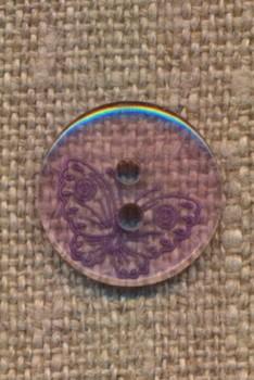 Lilla klar 2-huls knap m/sommerfugl i lilla