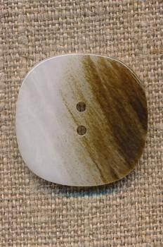Firkantet knap i hvid og brun, 26 mm.