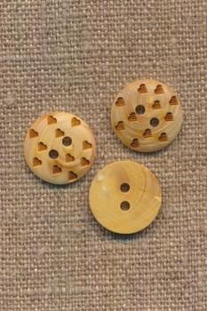 Træknap med små hjerter, 15 mm.