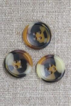 4-huls knap i brun, gylden og beige meleret, 18 mm.
