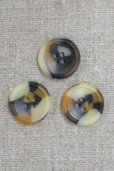 4-huls knap i brun, gylden og beige meleret, 22 mm.