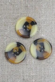 4-huls knap i brun, gylden og beige meleret, 25 mm.