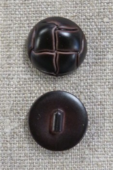 Plast knap i brun læderlook, 20 mm.
