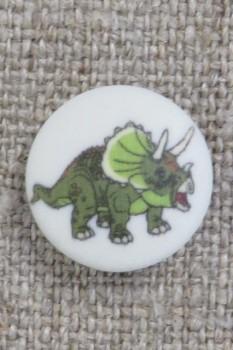 Knap med dinosaur i hvid og grøn, 15 mm.