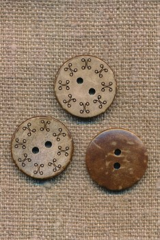 Kokos knap med mønster kant, 20 mm.