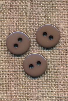 2-huls knap i støvet brun 10 mm.