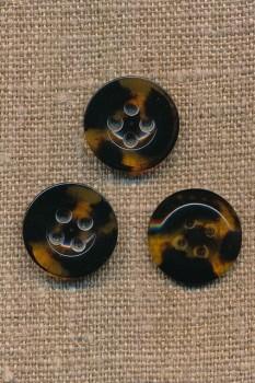 4-huls knap meleret i mørkebrun og klar/gylden, 18 mm.