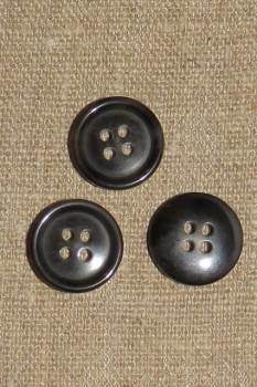 4-huls Knap i sort og koksgrå med kant, 18 mm.