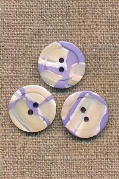 2-huls meleret i lilla og offwhite, 18 mm.