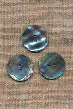 Perlemors-knap natur/blå 25 mm.