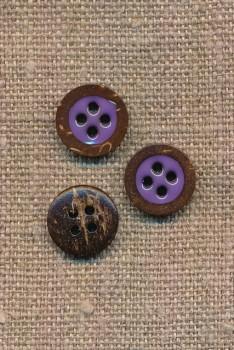 Kokos knap 4-huls med lilla midte 12,5 mm.