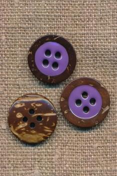 Kokos knap 4-huls med lilla midte 18 mm.