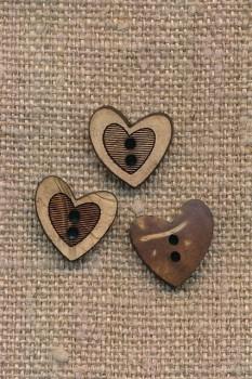 Træknap med skævt hjerte, 12 mm.