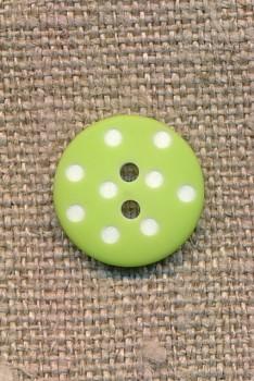 Lime knap med hvide prikker 15 mm.