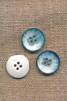 4-huls knap meleret i hvid og denim-blå 15 mm.