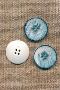 4-huls knap meleret i hvid og denim-blå 23 mm.