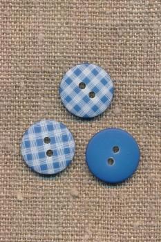 2-huls knap med tern i blå, 15 mm.
