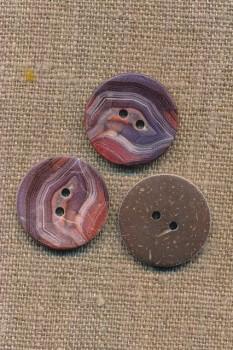 Kokos knap med print i lyng og rosa 22 mm.
