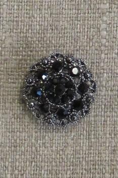 Knap m/øje i sort crystal og gl.sølv 20 mm.
