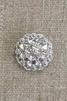 Knap m/øje i klar crystal og sølv 20 mm.