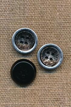 4-huls Knap i metalic og sort 15 mm.