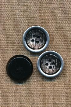 4-huls Knap i metalic og sort 18 mm.