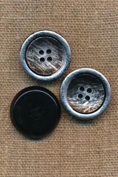 4-huls Knap i metalic og sort 22 mm.