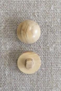 Rund knap i oliventræ, 15 mm.