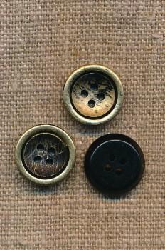 4-huls Knap i sort og guld, 15 mm.