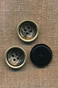 4-huls Knap i sort og guld, 18 mm.