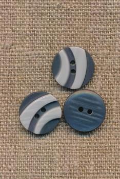2-farvet 2-huls Knap i grå og lysegrå 15 mm.