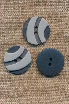 2-farvet 2-huls Knap i grå og lysegrå 20 mm.