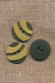 2-farvet 2-huls Knap i oliven og lys okker 20 mm.