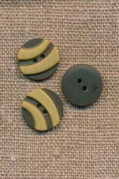 2-farvet 2-huls Knap i oliven og lys okker 15 mm.