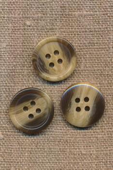 4-huls knap meleret i brun og beige, 20 mm.