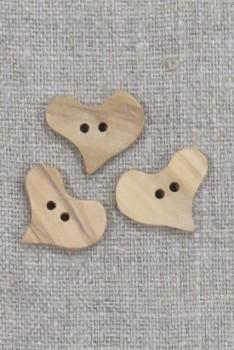 Hjerte knap i oliventræ, 20 mm.