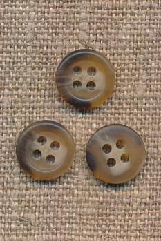 Lille 4-huls knap i lysebrun/brun meleret 11 mm.