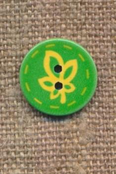 Knap med blad i grøn og gul, 15 mm.