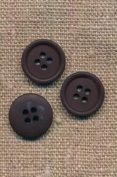 4-huls knap i mørkebrun, 15 mm.