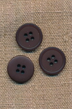 4-huls knap i mørkebrun, 18 mm.