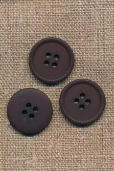 4-huls knap i mørkebrun, 20 mm.